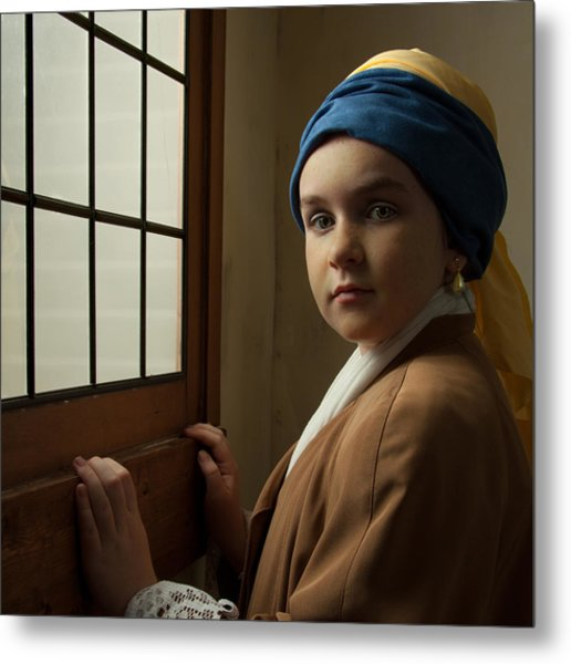 Girl With A Pearl Earring At A Window Metal Print