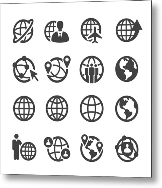 Globe And Communication Icons Set - Acme Series Metal Print by -victor-