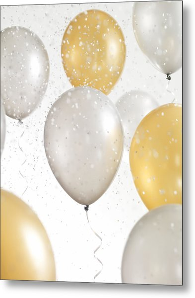 Gold And Silver Balloons With Confetti Metal Print by Lauren Nicole