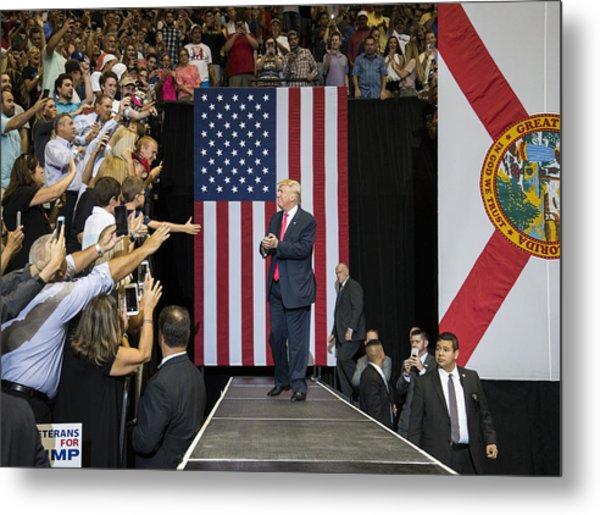 Gop Presidential Nominee Donald Trump Holds Rally In Jacksonville, Florida Metal Print by Mark Wallheiser