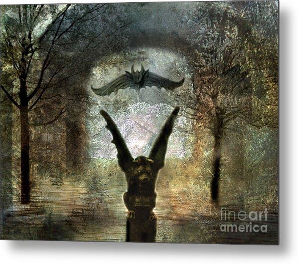 Gothic Surreal Fantasy Spooky Gargoyles  Metal Print by Kathy Fornal