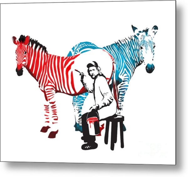 Graffiti Print Of Rembrandt Painting Stripes Zebra Painter Metal Print