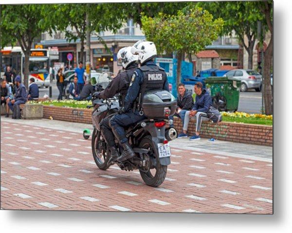 Greek Motorcycle Police Officers Metal Print by Gwengoat