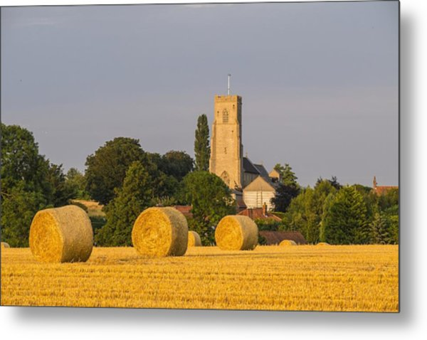 Harvest Scenes In The East Of England Metal Print by GKS Images