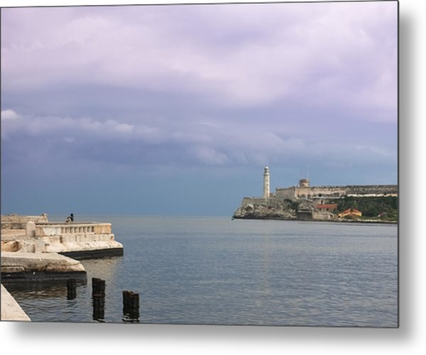 Havana Malecon With Morro Lighthouse And A Lonely, Unrecognizable Person Relaxing By The Sea, Cuba Metal Print by Smartshots International