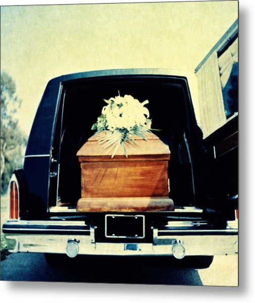 Hearse With Coffin Coming Out Of Back Metal Print by Walter B. McKenzie