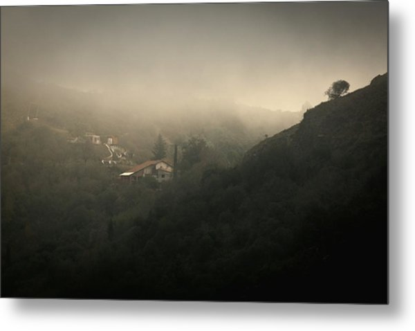 High Angle View Of Cosquin On Foggy Day Metal Print by Andres Ruffo / EyeEm