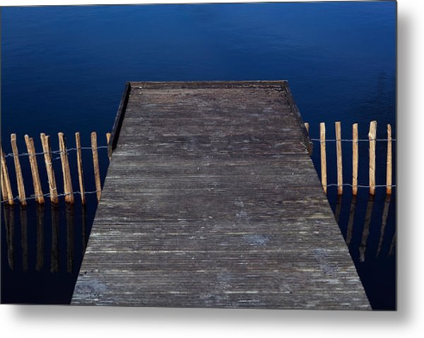 High Angle View Of Jetty Over Lake Metal Print by Paulien Tabak / EyeEm