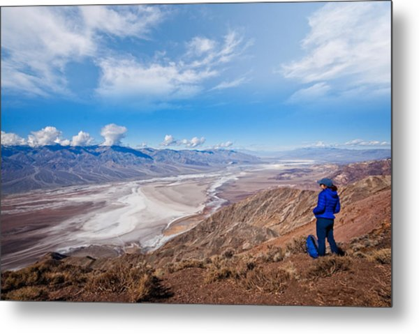Hiker At Dante's View Metal Print by JeffGoulden