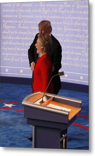 Hillary Clinton And Donald Trump Face Off In First Presidential Debate At Hofstra University Metal Print by Pool