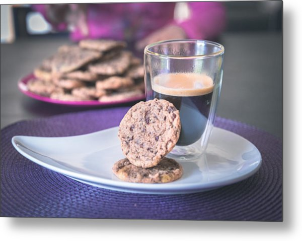 Homemade Chocolate Cookies With A Hot Black Coffee Metal Print by Robin-Angelo Photography
