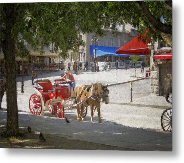 Horse And Carriage Street Scene Montreal Metal Print by Ann Powell