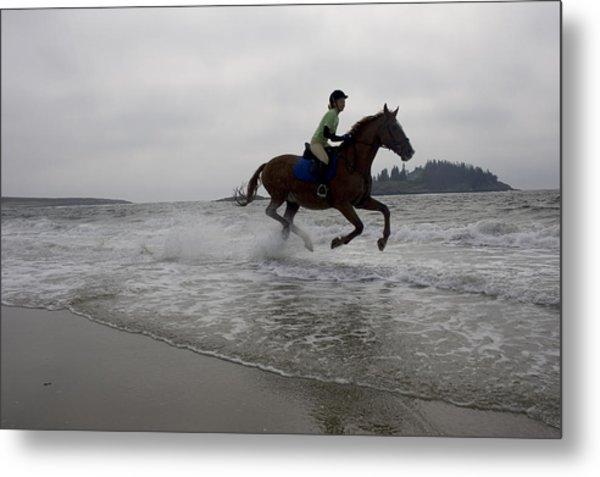 Horseback Rider On Beach In Maine, Usa Metal Print