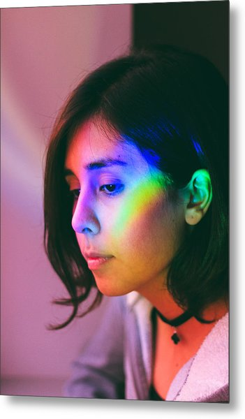 Illuminated Light Falling On Thoughtful Woman Face Metal Print by Camilo Fuentes Beals / EyeEm