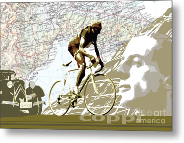 Illustration Print Giro De Italia Coppi Vintage Map Cycling Metal Print