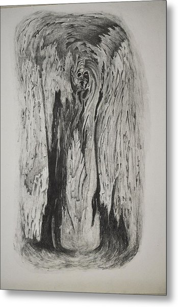 Image Of Face In Wood Bark Metal Print by Glenn Calloway