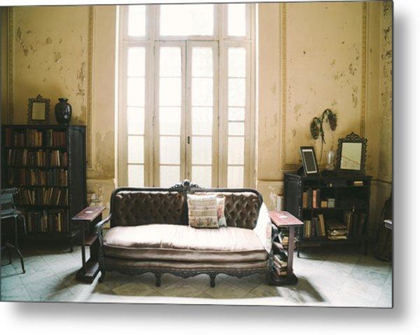 Interior Of Abandoned Ornate Colonial Villa Metal Print by Nikada