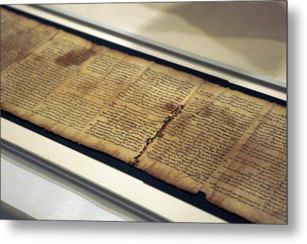 Israel Museum Displays Dead Sea Scrolls Metal Print by Lior Mizrahi