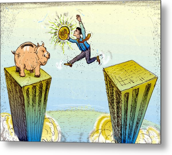 Leaping Buildings To Piggy Bank Metal Print by Vasily Kafanov
