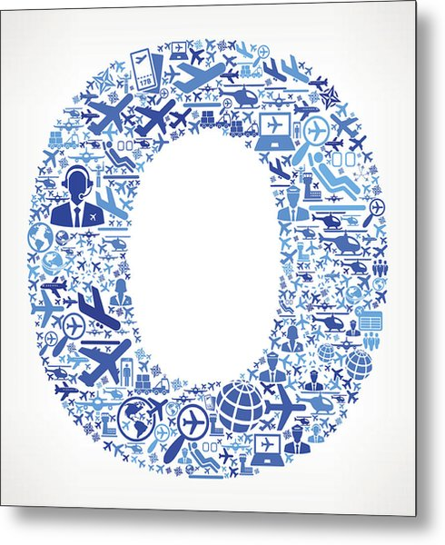 Letter O Aviation And Air Planes Vector Graphic Metal Print by Bubaone