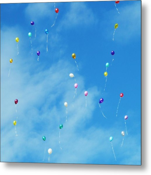 Low Angle View Of Balloons Flying Against Sky Metal Print by Alexey Ivanov / EyeEm