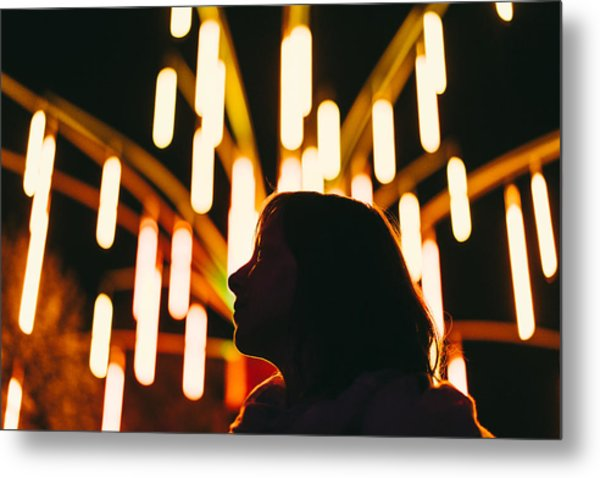 Low Angle View Of Silhouette Woman Against Illuminated Lights At Night Metal Print by Adriana Duduleanu / EyeEm