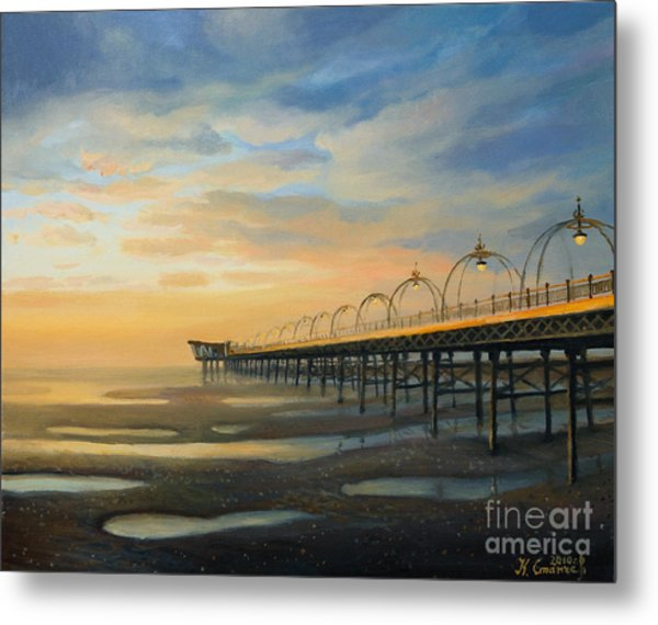 Low Tide In Southport Metal Print by Kiril Stanchev