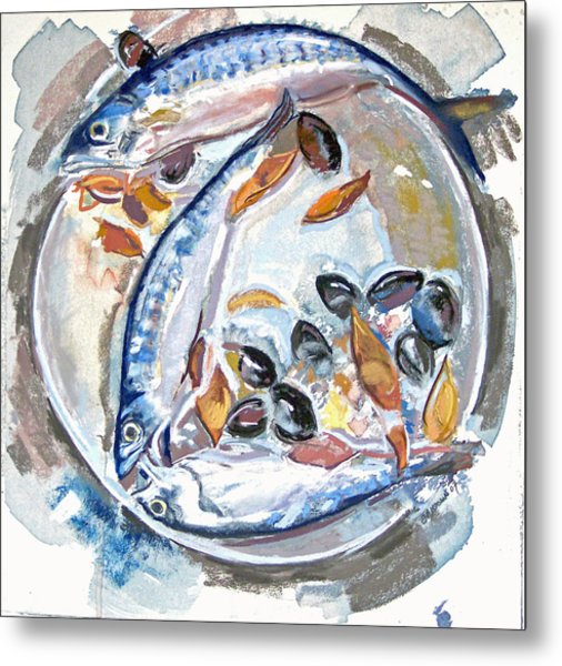 Mackerel Mussels Leaves Metal Print