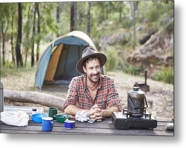 Man Cooking And Camping In Australian Bush Metal Print by Stuart Miller