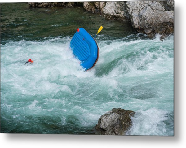 Man Floating In A River After His Raft Flipped Over While White Water River Rafting Metal Print by Tdub303