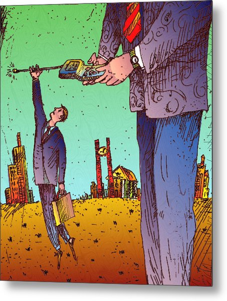Man Hanging To Cell Phone Metal Print by Vasily Kafanov