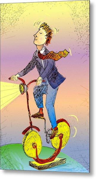 Man On Bike Made Of Coins Metal Print by Vasily Kafanov