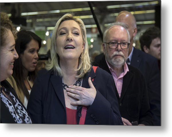 Marine Le Pen Attends The International Lepine Contest Metal Print by Vincent Isore/IP3