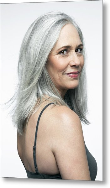 Mature Woman With Grey Hair In A 3/4 Position. Metal Print by Andreas Kuehn