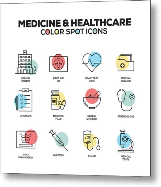 Medicine And Healthcare Icons. Vector Line Icons Set. Premium Quality. Modern Outline Symbols And Pictograms. Metal Print by Cnythzl
