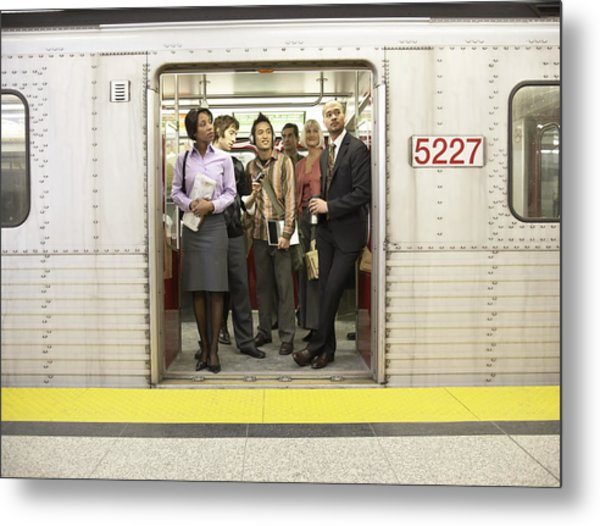 Medium Group Of People Standing In Subway Train Doorway Metal Print by Darrin Klimek