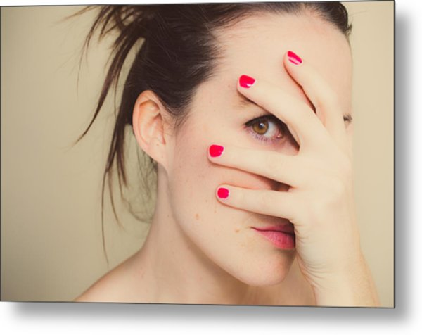 Misterious Girl With Red Nails And Hand On Face. Metal Print by Volanthevist