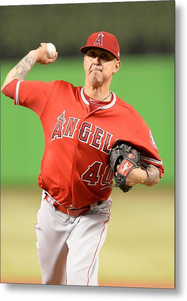 Mlb: May 26 Angels At Marlins Metal Print by Icon Sportswire