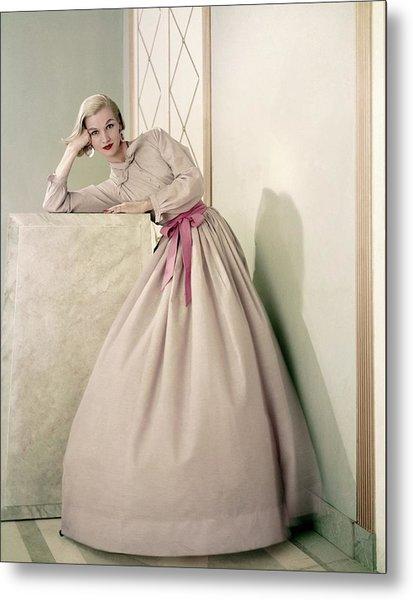 Model Wearing A Pink Shirt And Full Skirt Metal Print
