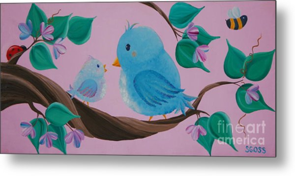 Mommy-baby Birds Metal Print