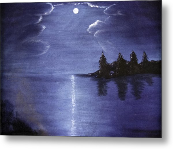 Moonlit Lake Metal Print