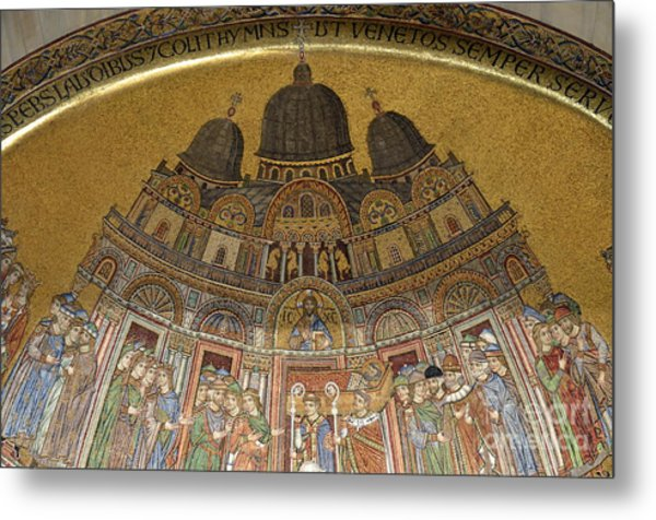 Mosaic Detail On San Marco Basilica Metal Print by Sami Sarkis