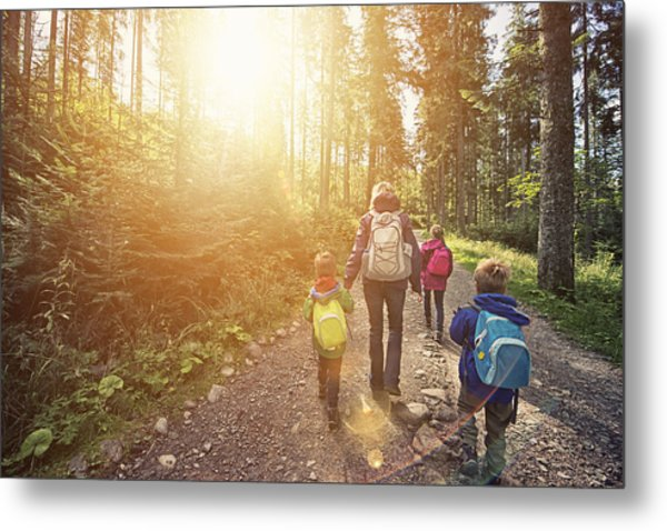 Mother And Kids Hiking In Sunny Forest Metal Print by Imgorthand