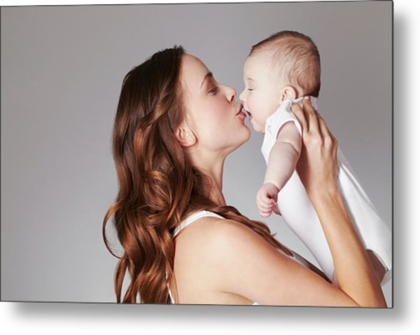 Mother Kissing Baby Daughter Metal Print by Emma Kim