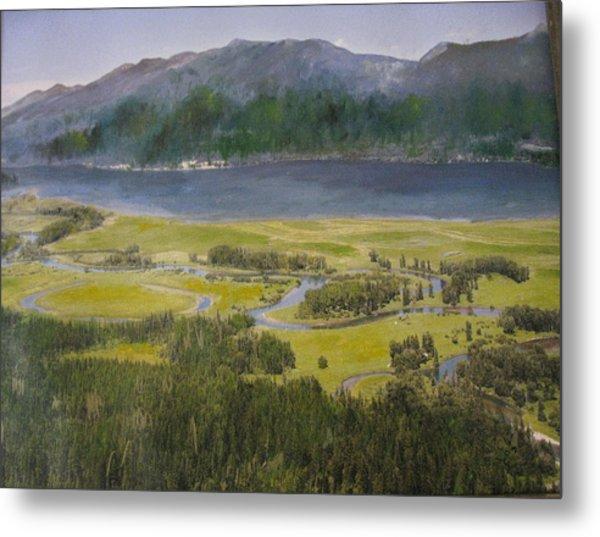 Mountains In Montana At Flathead Lake Metal Print