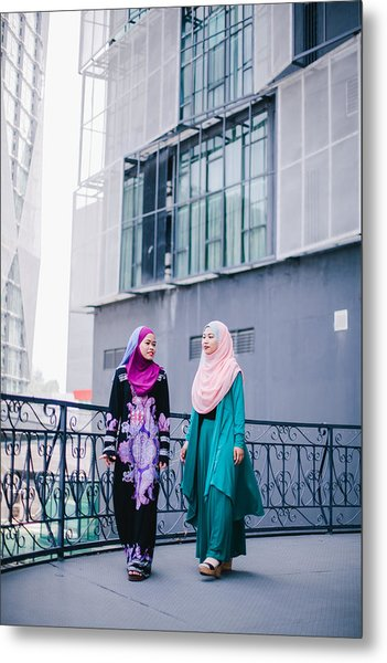 Muslim Women In Hijab In Discussion Metal Print by Mikhaella Ismail