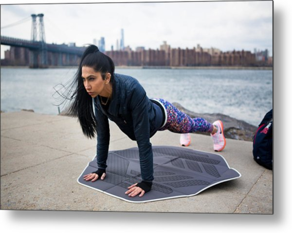 #muslimgirl Working Out Metal Print by Muslim Girl
