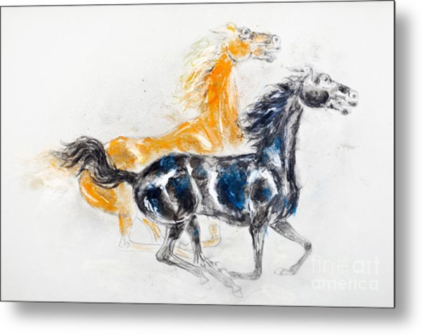 Mustangs Metal Print by Kurt Tessmann