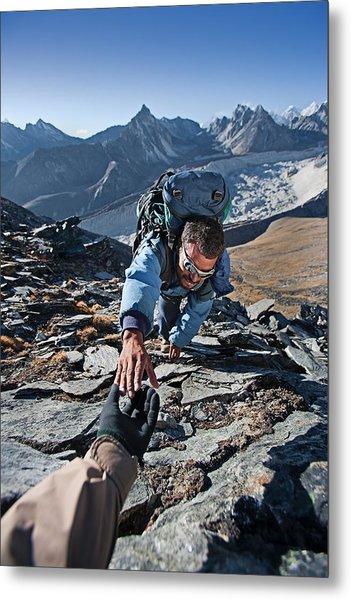 Nepali Sherpa Climbing In Himalayas Metal Print by Hadynyah