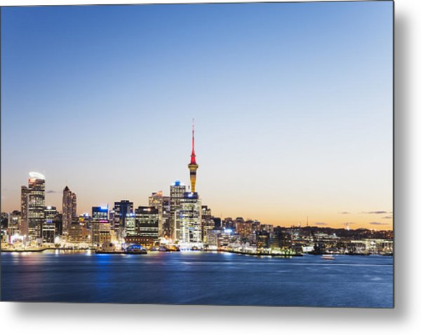 New Zealand, Auckland, Skyline With Sky Tower, Blue Hour Metal Print by Westend61